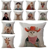 bedroom cushion - Animals Cosplay Home Decor Sofa Bedroom Waist Cushion Cover Cotton Linen Throw Pillow Case Gift
