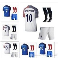 Wholesale DHL France Soccer Jerseys kit socks Thai Quality Euro Cup Jersey GRIEZMANN PAYET BENZEMA POGBA Men s Soccer Sh