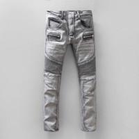 Wholesale BALMAIN jeans balmai hot mens designer jeans famous brand balmai jeans men distressed jeans ripped denim balman black color