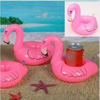 venda por atacado mini brinquedos-Mini Flamingo flutuante Bebida inflável pode Célula Suporte Phone Holder Pool Party Evento Brinquedos Fontes LC390