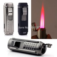 Wholesale HONEST Fast Shipping W Cigar Punch Gadget Cigar Lighter Quadruple Hot Pink Jet Flame Windproof Cigarette Lighter LD