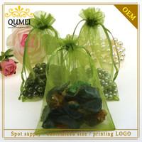 al por mayor venta al por mayor bolsas de té verde-11x16cm Oilver verde bolsas de organza regalo de la joyería del regalo de cumpleaños bolsa de té de almacenamiento de sacos 500pcs personalizada impresión de la insignia / lot al por mayor