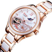 artificial sapphire - NESUN LS9071 Women Auto Mechanical Watch Artificial Diamond Lotus Pattern Dial Moon Phase Display Wristwatch