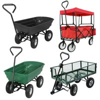 Wholesale Garden Dump Cart Hand Truck Shopping Heavy Duty Storage Dolly Wagon Enclosed Four wheel Moving Lage Wheelbarrow