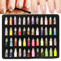 arts pearl powder - 48 bottles nail art charms kit contain random nail art pearl sequin glitter powder acrylic rhinestone and so on