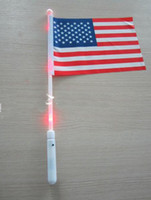 Wholesale new arrivals American hand LED Flag th of July Independence Day waving flag free ship