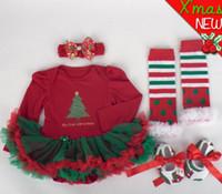 Bébés garçons Filles Combinaisons de Noël Bébé nouvel an robe de coton vêtements enfant vêtements enfants porter pompon jupe 4 pièces GLS013B