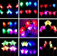Wholesale Glowing horn head band A cartoon headdress gleam hoop head buckle party tire children adults festival toys gifts