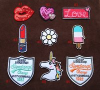 Wholesale Mixed Embroidery Patches For Clothing Rolling Tongue Iron On Patches Punk Motif Applique DIY Accessory Clothes Stickers