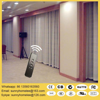 bedroom window blinds - Top sale wireless motorized curtain blinds L shade U shade curtain blind double track curtain blind