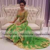 art deco india - 2016 Charming Scoop Neck Long India Style Evening Dresses Long Sleeve Gold Apppliques Green Tulle Mermaid Formal Occasion Prom Dresses
