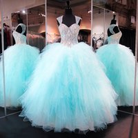 Wholesale Coverlet Red - Crystal Beading Ruffled Tulle Quinceanera Dress 2017 Designed Sweetheart Sleeveless Ball Gowns Prom Dress With Removable Shoulder Coverlet