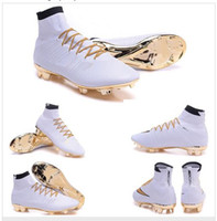 Wholesale 2016 Mercurial Superfly CR7 White Golden Soccer Shoes Soccer Boots Cleats original Men shoes Soccer Shoes Football Shoes