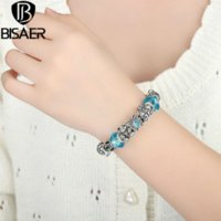 Charm Bracelets best christmas food gifts - BISAER Best Silver Plated Butterfly Bear Car Blue Murano Charm Bracelet for Women Christmas Eve Bracelet A1462