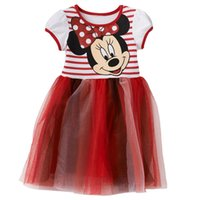 Wholesale 2 Y Kids dresses Minnie Mouse Glitter Tulle Dress Toddler robe princesse fille Cute Minnie striped bodice girls summer dress