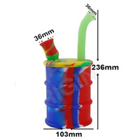 acrylic drums - 20Pcs Newest Silicone Oil Drum mm Oil Rig Water Pipe Food Grade Silicone Bongs free DHL
