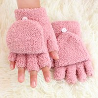 Wholesale Autumn and winter gloves Coral fleece flip half gloves lady s winter fingerless gloves hand wrist keyboard glove half fingers snow gloves