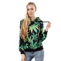 active plants - Autumn and winter Plant leafs Hoodies lobe hooded fleece Set head wear casual dress women clothes Sweatshirts