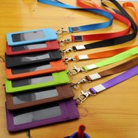 Wholesale Badge holder with string solid colors PU Leather ID Card holders with lanyard