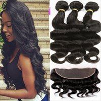 Wholesale 8A X4 Ear To Ear Lace Frontal Closure With Bundles Peruvian Body Wave Virgin Human Hair Bundles With Lace Frontal Closure