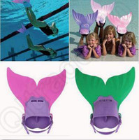 Wholesale 2 Colors Kids Mermaid Monofin Mono Fin Flippers Real Swimmable Train Tail Costume Mermaid Mono Fin Swimmable Tail Flippers CCA4805