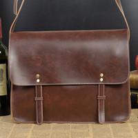 Wholesale Men Laptop Briefcase Men s Leather Briefcase Vintage Leather Handbags for Men Shoulder Bags Casual Crossbody Bags