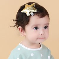 artificial leather cloth - 2016 NEW The new girl fashion gold silver stars hairpin Barrettes All inclusive cloth Children baby hair accessory