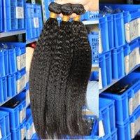 yaki weave hair - Brazilian Yaki Kinky Straight hair human hair weave inch hair bundles peruvian malaysian Indian no tangle human hair extensions