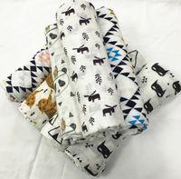 Wholesale Baby Muslin Swaddle Wrap with box cm cartoon panda fox print ins Blanket Newborn Swaddle Towel baby swaddle wrap design KKA850