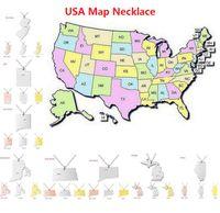 alaska gifts - America State Map Pendant Necklaces With Heart DIY USA State Pendant Necklace Stainless Steel Jewelry Alaska New York Michigan Utah
