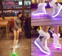 Wholesale Winter light colorful women boots and cotton shoes USB light Jurchen rabbit rabbit led light snow boots shoes charging size