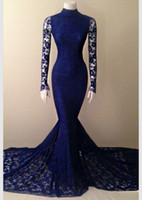 Wholesale New Arrival Mermaid Long Sleeves Formal Evening Dresses Vestidos De Noiva Dark Navy Blue Court Train Prom Gowns High Neck Lace Dress