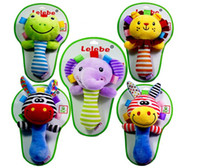 Wholesale Hot infant animal hand bell baby plush stuffed toy children mobiles sounding educational handbell