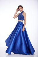 beaded tuxedo - Women royal blue Elegant Long Sexy Ladies formal tuxedo Split Evening Dresses With Beadings V neck Backless Prom Gowns