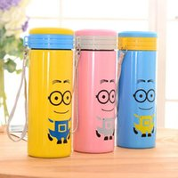 metal water bottle - Despicable Me Minions water bottles with Creative cartoon cloth cover Anti scald transparent Portable kids Water Bottle