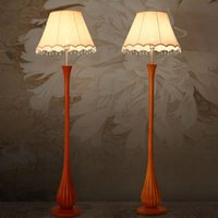 Wholesale Floor Lamps Modern Chinese Classic Design Style LED Floor Lights V V Resin Body Fabric Lampshade study Room Lamp Sofa Edge Beside Lamp