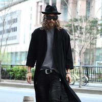 Wholesale Fall male seven sleeve open cardigan coat cloak nightclub long coat loose trench