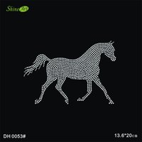 Wholesale Crystal Diamond Rhinestones Horse Animal Motif Iron On Patch Hot Fix Iron On Design DIY DH0053