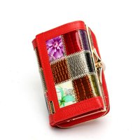 Wholesale 3 Fold Fashion Genuine Leather Women Wallets Patchwork Hasp Coin Pocket Female Clutch Carteira Feminina Women Purse Wallet
