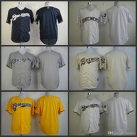 american brewers - 2015 New Top quality mens milwaukee brewers jerseys authentic cheap American Baseball Blank Jersey no name or number coolbase Size M XL