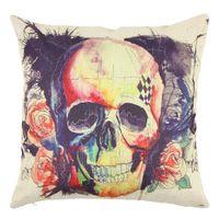 Wholesale New Fashion Creative Skull Linen Cotton Throw Pillow Case Home Decor Cushion Cover Pillowcase Style