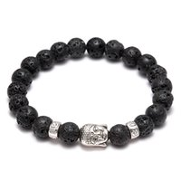 agate prayer beads - Men s Women s Diffuser Jewelry Anti fatigue Silver Buddha Lava Natural Stone Charms Bracelets Volcanic Rock Prayer Beads Bracelet