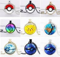 christmas ball glass - Poke Mon Poke Ball Pendant Necklaces Antique Bronze Poket Monster Pendants Action Figures Nintendo Game Gemstone Necklaces Christmas Gift