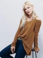 Wholesale 2017 Spring Autumn Womens Fashion Round Neck Empty Hooded Knit Strapless Sweater Ladies Loose knitted sweater