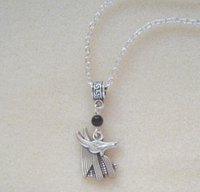 anubis egyptian - Egyptian Anubis Jackal God Black Beads Amulet Silver Plated quot Chain Necklace