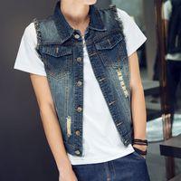 Wholesale 2016 New Arrival Souyute Men s Denim Vest Cowboy Single Breasted Casual Denim Sleeveless Jacket M XL