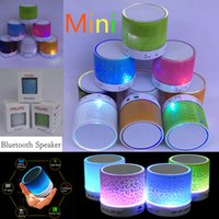 audio paint - Mini Cylindrical Crackle Paint LED Light Flash Mini Protable Outdoor Bluetooth Speaker USB AUX Portable Handfree for MP3 Player Cellphone PC