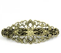 Wholesale Antique Bronze Flower French Hair Barrette Clips x35mm sold per pack of Mr Jewelry