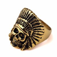 apache indians - New Design Tribe Gold Steel Apache Indian Chief Head Ring Jewelry Bar Club for Men Women Hip Hop Indian Jewelry US Size