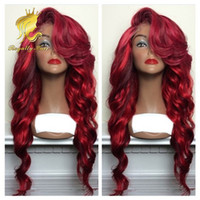 Wholesale Brazilian Hair Long Wave Wigs Synthetic Lace Front Wigs Red Ombre Color Heat Resistant Synthetic Hair Wigs